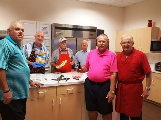 Among the men who cooked for the Annual Sweetheart Banquet, from left, are Pastor Curt Ayers, Eddie Hall, Dale Williamson, Rich Elleman, Jack Addy and Bob Hobgood.
