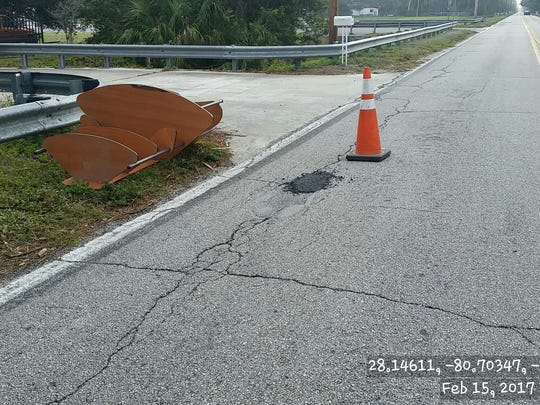 This photo shows the deteriorating road conditions along a section of Lake Washington Road.