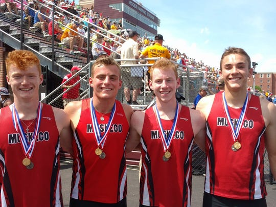 The Muskego boys 4x200-meter relay team won the state