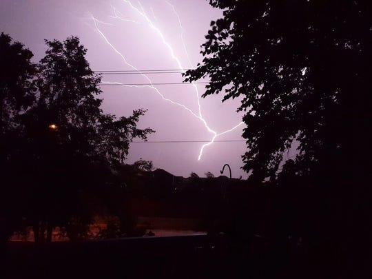 Lightning strikes near 57th and Bahnson in Sioux Falls