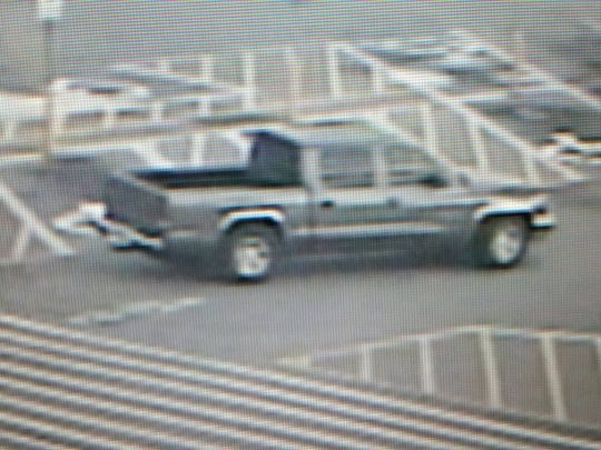 This image shows the suspects' vehicle in a fire station
