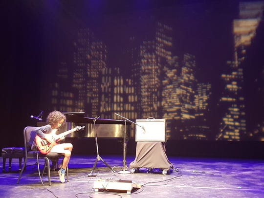 Marel Hidalgo during soundcheck on the NJPAC stage.