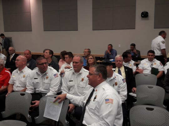 Leaders from some of the 17 Lee County fire districts appeared at the Lee County Legislative Delegation meeting Tuesday, drawn by a proposal to conduct a non-binding referendum in the county to determine public opinion on the issue of consolidating county fire districts.