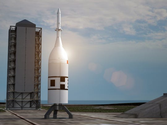 Artist rendering of a Peacekeeper booster stage and Orion crew capsule mockup at Cape Canaveral Air Force Station's Launch Complex 46. The 93-foot vehicle will test Orion's ability to escape from a failing rocket, a test flight called Ascent Abort-2 and targeted for April 2019.