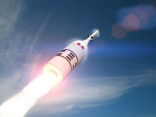 Artist rendering of a Peacekeeper booster stage and Orion crew capsule mockup launching NASA's Ascent Abort-2 test flight from Launch Complex 46 at Cape Canaveral Air Force Station. The unmanned, three-minute flight testing Orion's ability to escape from a failing rocket is now  targeted for early July.