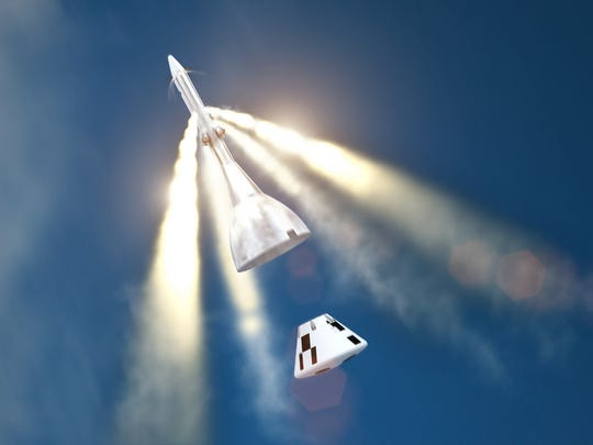 Artist rendering of motors firing to jettison the launch abort system from an Orion crew capsule mockup during NASA's Ascent Abort-2 test flight, targeting an April 2019 launch by a Peacekeeper booster stage from Cape Canaveral Air Force Station's Launch Complex 46.