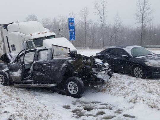 A multi-vehicle wreck shut down westbound Interstate
