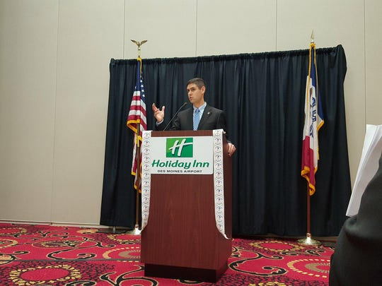 Nate Boulton addresses the League of United American Citizens Council 307 on Saturday, January 13, 2018.