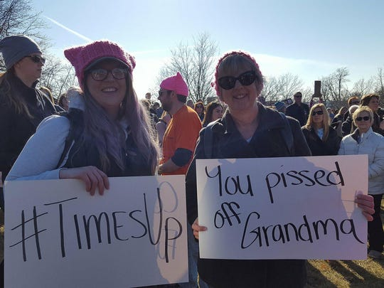 Sarah TeRonde (left), 33, and Susan TeRonde, 60, both of Madrid, Iowa attend the Women's March in Des Moines on Saturday, January 20, 2018.