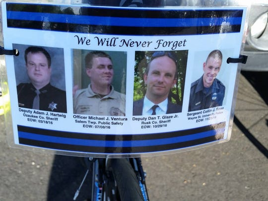 Each year for the bike ride, officers affix cards to the seats of their bicycles to show the officers they are riding for. These names were honored in 2017. Deputy Sheriff Adam Hartwig Public Safety Officer Michael Ventura, and Deputy Sheriff Dan Glaze and  Sgt. Colin Rose.
