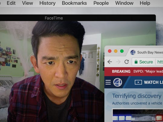 "John Cho plays a father trying to track down his missing daughter by diving into her laptop in ""Searching."""