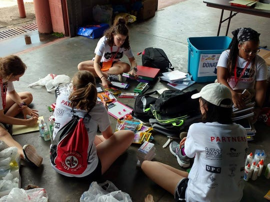 "UL Soul Camp 2017 students sort supplies for United Way of Acadiana's ""Stuff the Bus"" program."