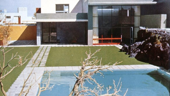 A house in the Gardens of El Pedregal designed by Luis Barragán, winner of the 1980 Pritzker Prize.