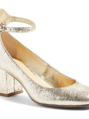 BP ankle strap block heel pump, $69.95, in gold crackle faux leather.