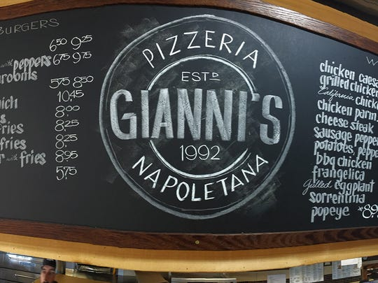 The menu at Gianni's Pizzeria in Red Bank is shown Monday, March 20, 2017.  The Datre family owns this network of five restaurants that are celebrating their 25th anniversary this year.
