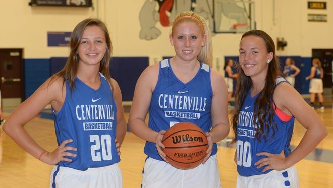 Centerville High School girls basketball players Merissa Ross, left, Kaylin Smith and Lauren Honkomp Friday, Nov. 6, 2015, in Centerville.