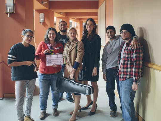 Mariam Bakashvili, a resident of Hackettstown, explores the immigrant experience in her short film 'Woman with Violin.' From left to right cast and crew: Salma Hbaich, first assistant camera; Mariam Bakashvili, director and cinematographer; Marc DeBlasi, sound mixer: Irina Usok, lead actress; Natali De Assis, supporting actress; Shayne Kamat, camera operator; and Foster Vernon, assistant director.