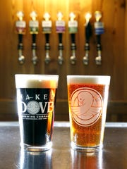 Naked Dove Brewing Company's 45 Fathoms Porter, left,