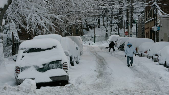 The snow covered street on Coyle Place in Yonkers, after the snowstorm overnight, Jan. 27, 2011.