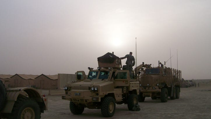 The 833rd Engineer Company lines up during the unit's second deployment in Iraq in 2007-2008.