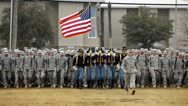 After being deployed in Iraq, U.S. Army soldiers return to Fort Hood in Texas on Dec. 24, 2011.