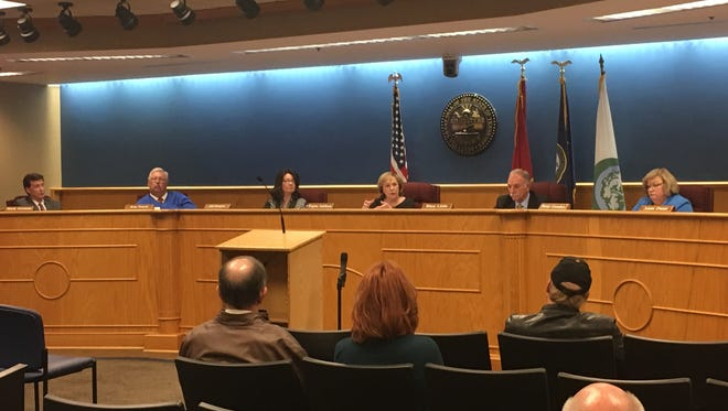 Brentwood Mayor Regina Smithson, third from right, expresses her concerns about short-term rentals in Brentwood.