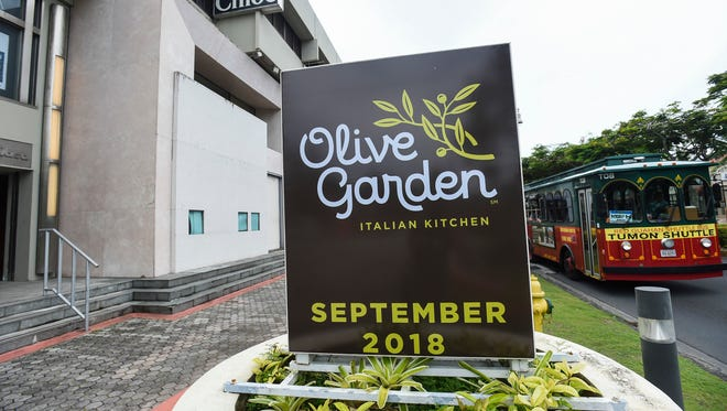 The Olive Garden sign outside of the Tumon Sands Plaza on June 10, 2018.