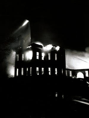 Old Main burns down on the Colorado State University campus on May 8, 1970