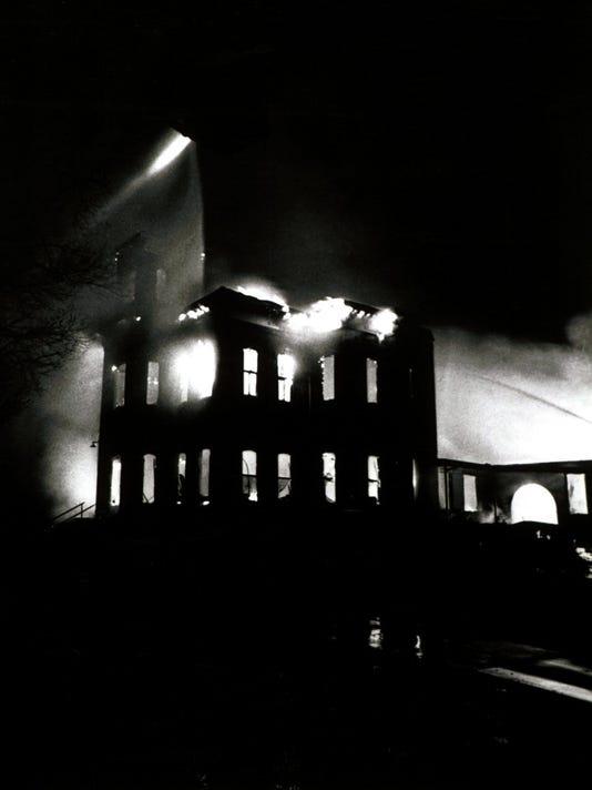 Old Main burning