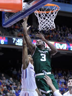 Dec 27, 2017; Boise, ID, USA; Colorado State Rams guard Raquan Mitchell (3) during the first half of action against the Boise State Broncos at Taco Bell Arena. Mandatory Credit: Brian Losness-USA TODAY Sports