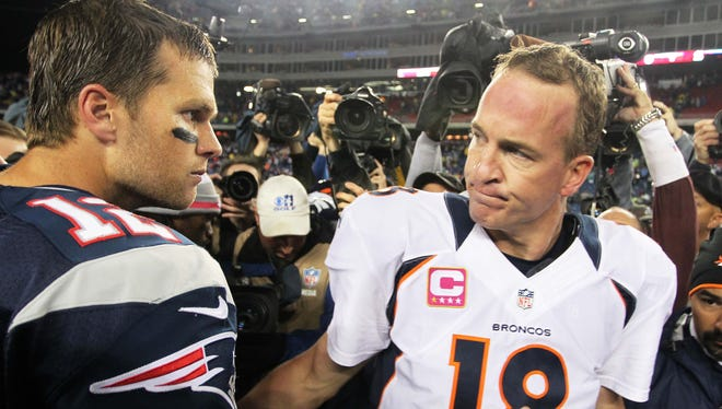 Broncos QB Peyton Manning (18) is still searching for his first win against Tom Brady's Patriots in a Broncos uniform.