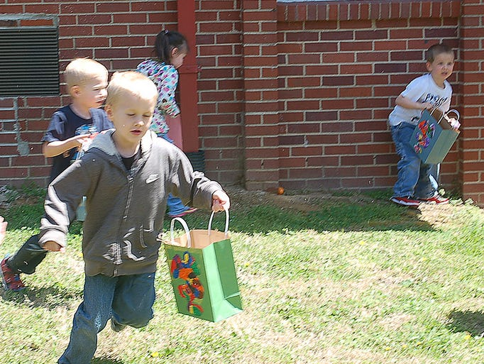 Ashland City Elementary School Pre-K was treated to an Easter egg hunt by the Adult High School and Cheatham Academy at the Education Annex.