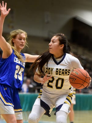 Box Elder's Lillian Gopher handles the ball during Thursday's game against Great Falls Central in the quarterfinal round of Girls' Northern C Divisional Basketball Tournament on Thursday in the Four Seasons Arena.