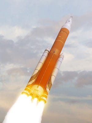 Artist's rendering of NASA's Space Launch System and Orion crew capsule is expected to launch in 2019 from Kennedy Space Center in Florida.