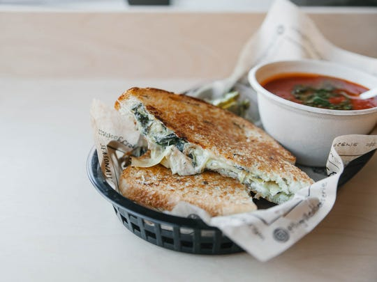 Spinach and artichoke grilled cheese at the Grilled Cheeserie.