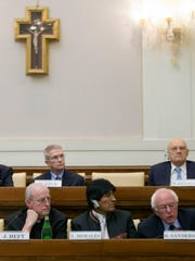 """US presidential candidate Bernie Sanders speaks at a conference commemorating the 25th anniversary of """"Centesimus Annus,"""" a high-level teaching document by Pope John Paul II on the economy and social justice at the end of the Cold War, at the Vatican, Friday, April 15, 2016. (AP Photo/Andrew Medichini)"""