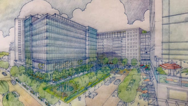 Architects came up with this sketch of what's possible for the District at Chauncey Hill, a project expected to replace Chancey Hill Mall at the corner of State Street and Chauncey Avenue.