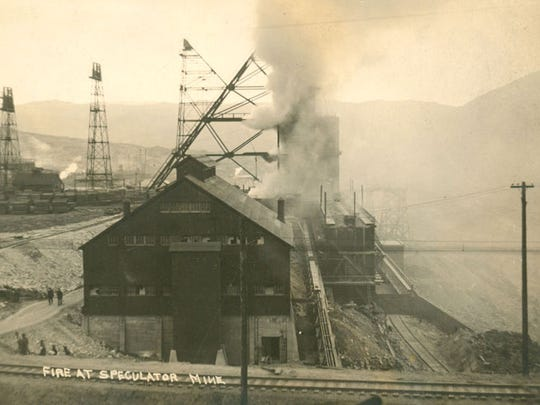 A historic postcard shows the fire at the Speculator Mine. The fire and particularly ensuing poison gas killed 168 miners a century ago.