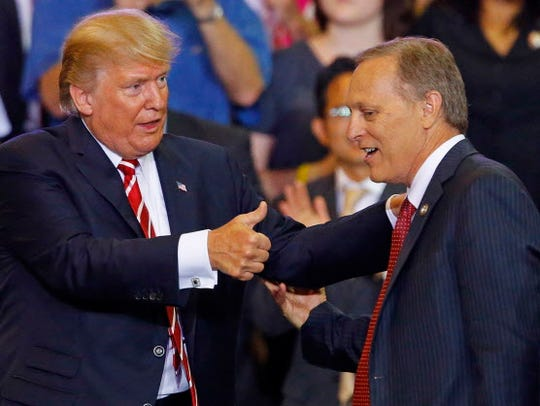 President Trump and Rep. Andy Biggs, R-Ariz., in 2017.