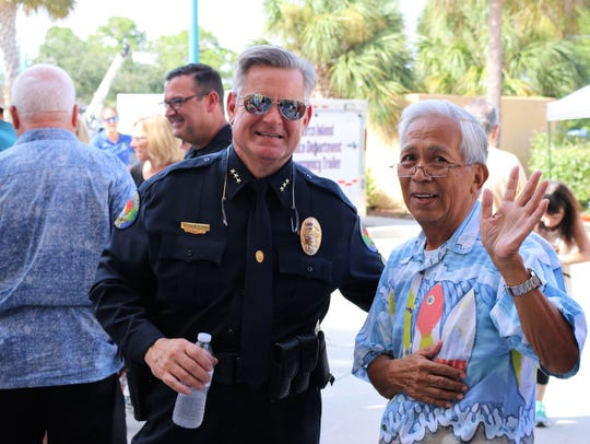 Marco Police Chief Schettino with Jay Santiago. On
