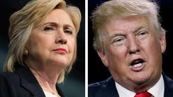 Democrat presidential nominee Hillary Clinton and Republican