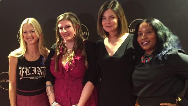 "(From left) Actress Marin Ireland, Flint activist Melissa Mays, actress Betsy Brandt, and Flint activist Nayyirah Shariff at the Oct. 21, 2017 Flint screening of the Lifetime TV movie ""Flint."""