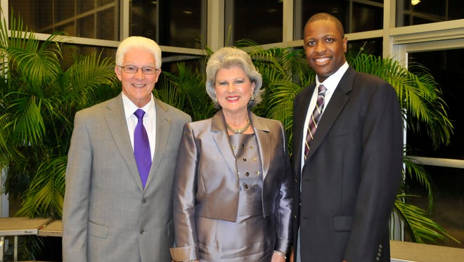 Jones County Junior College recognized three graduates as the 2014 Honor Alumni. Pictured left to right, they are: Dr. Milfred Valentine, Class of 1961; Robin Robinson, Class of 1976; and Derrick Dease, Class of 2002.