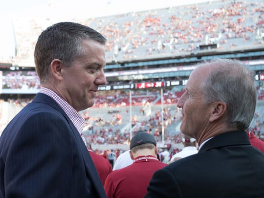 Sep 9, 2017; Tuscaloosa, AL, USA; Alabama Crimson Tide athletic director Greg Byrne and Alabama president Stuart Bell during the game against Fresno State Bulldogs at Bryant-Denny Stadium. Mandatory Credit: Marvin Gentry-USA TODAY Sports