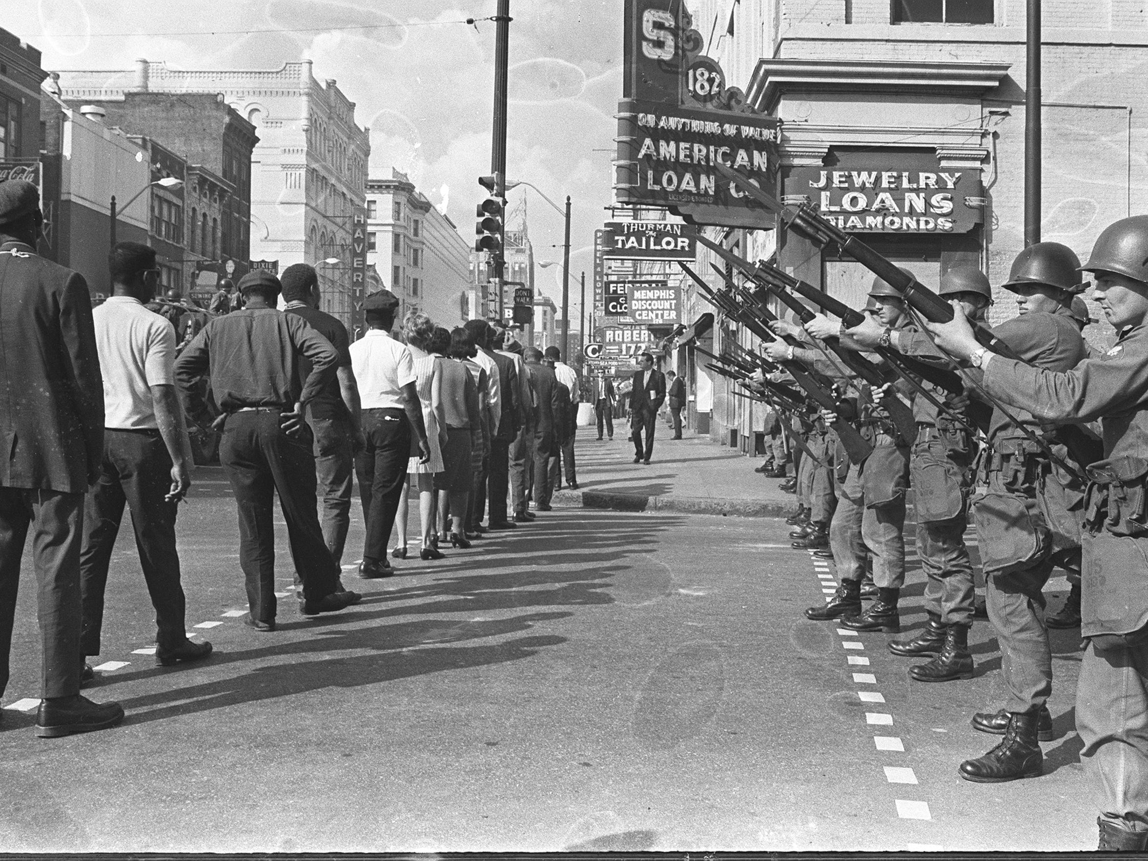 The daily sanitation strike marches resumed March 29, 1968, one day after rioting left Main and Beale littered with bricks and broken glass and dappled with blood.