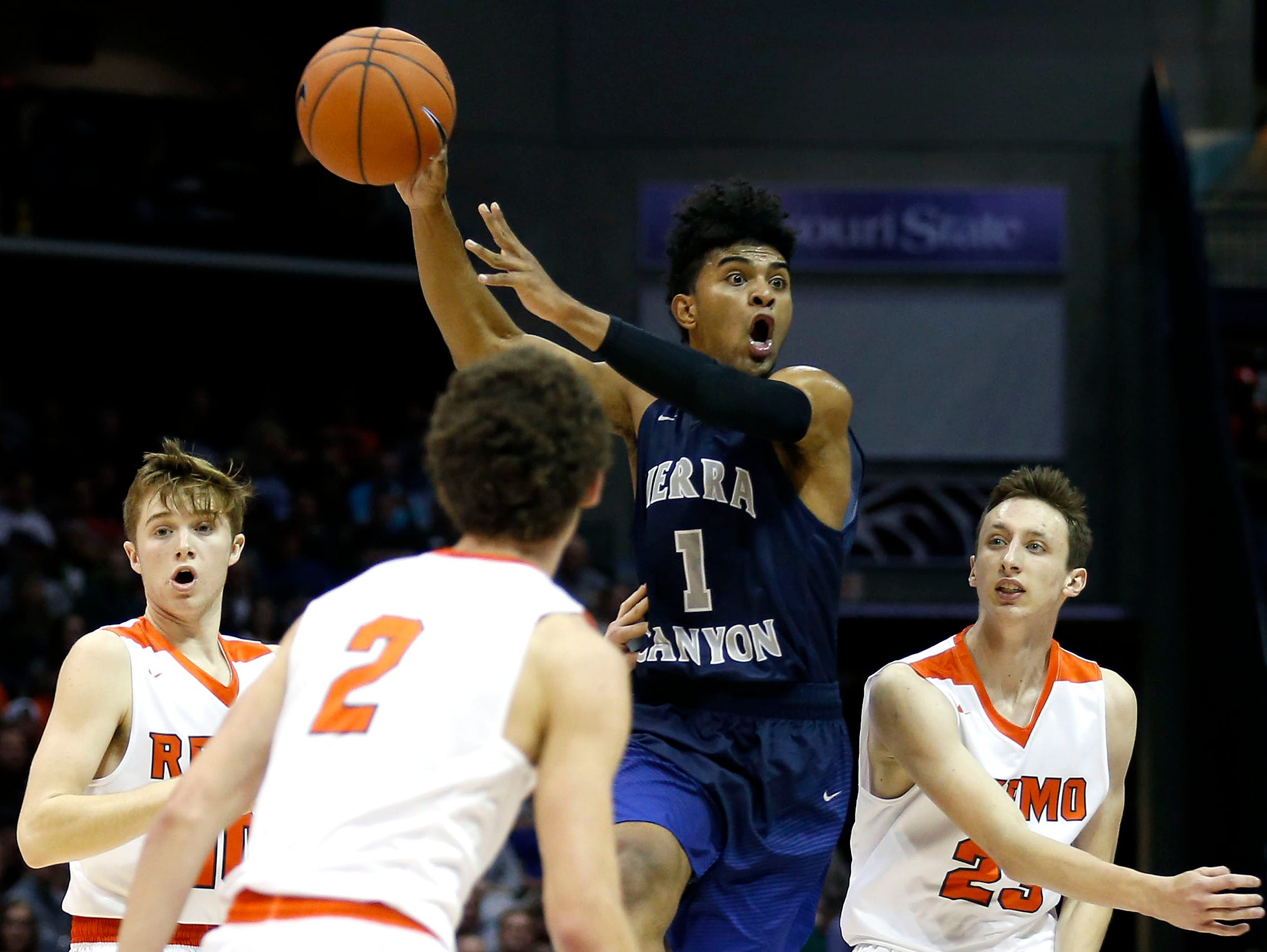 Sierra Canyons Remy Martin goes airborne as he winds up to pass the ball to a teammate as the Trailblazers take on the Republic Tigers in the first round of the Tournament of Champions at JQH Arena on Thursday, Jan. 12, 2017.