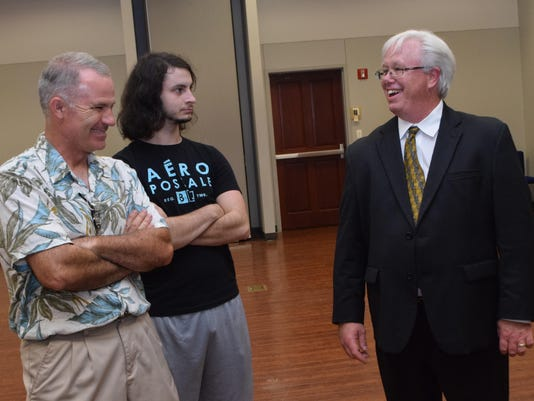 ANI Presidential candidate The Rev. Scott Copeland (far right), a 2016 Constitution Party presidential candidate, meets with David Daigrepont (far left) and his son Nathanael Daigrepont at the Constitution Party meeting, held Saturday at Louisiana College