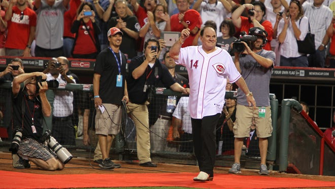 Pete Rose is introduced with the Great 8 at Great American Ball Park in September 2013.