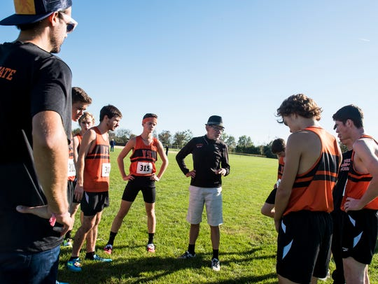 York Suburban cross country coach Ron Herman speaks