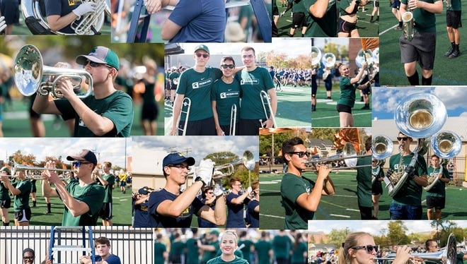 Some 15 alumni of the Plymouth-Canton marching band took part in the halftime show at the U-M/MSU football game.